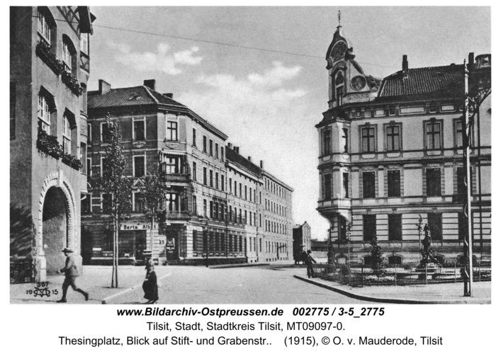 Tilsit, Thesingplatz, Blick auf Stift- und Grabenstr.