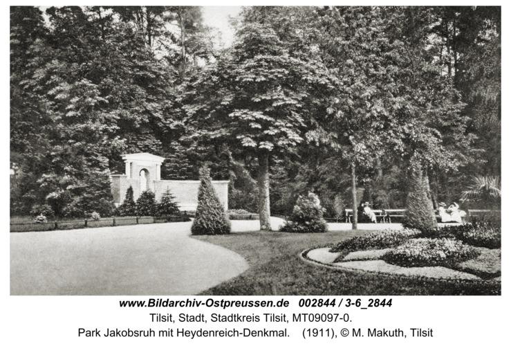 Tilsit, Park Jakobsruh mit Heydenreich-Denkmal
