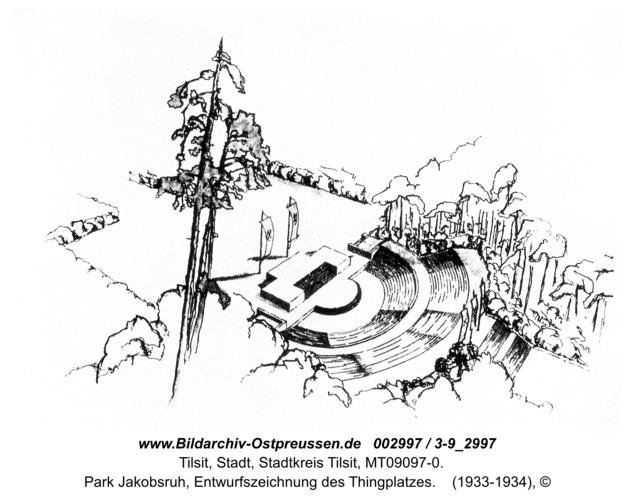 Tilsit, Park Jakobsruh, Entwurfszeichnung des Thingplatzes