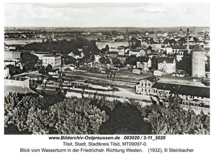 Tilsit, Blick vom Wasserturm in der Friedrichstr. Richtung Westen