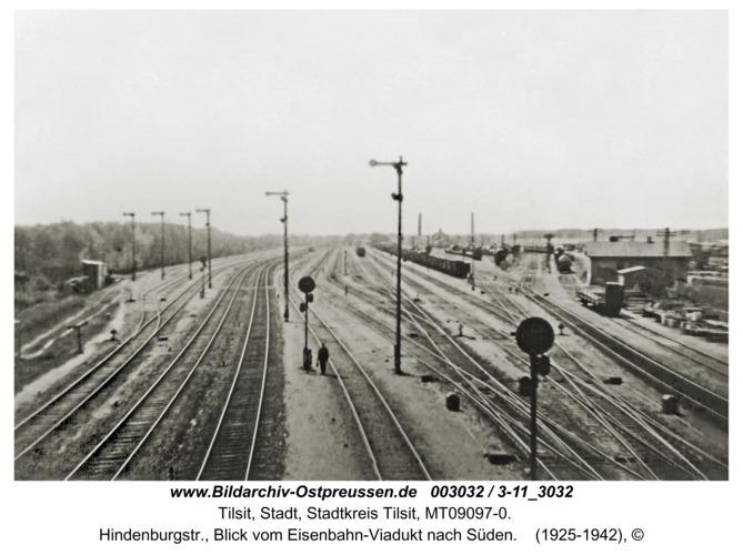 Tilsit, Hindenburgstr., Blick vom Eisenbahn-Viadukt nach Süden