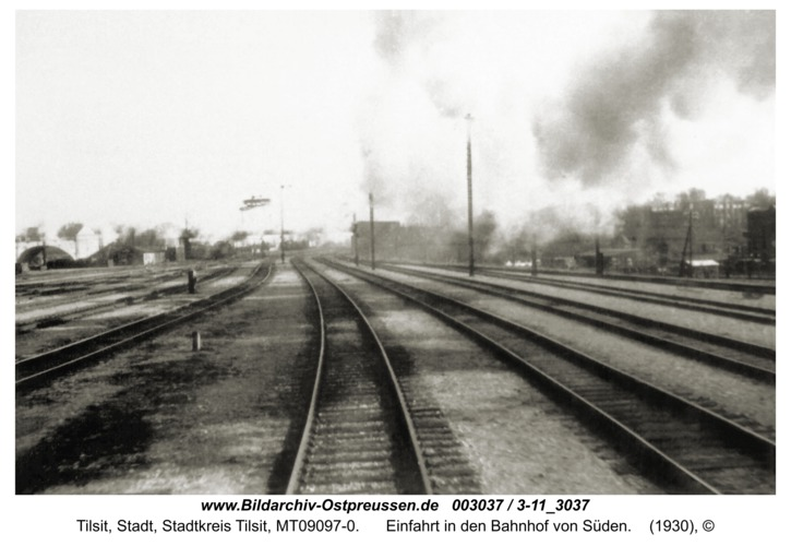 Tilsit, Einfahrt in den Bahnhof von Süden