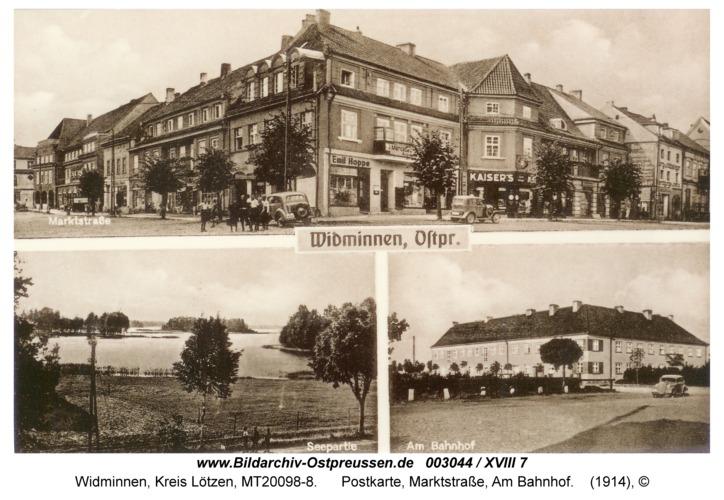 Widminnen, Postkarte, Marktstraße, Am Bahnhof