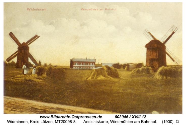 Widminnen, Ansichtskarte, Windmühlen am Bahnhof