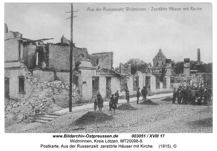 Widminnen, Postkarte, Aus der Russenzeit: zerstörte Häuser mit Kirche