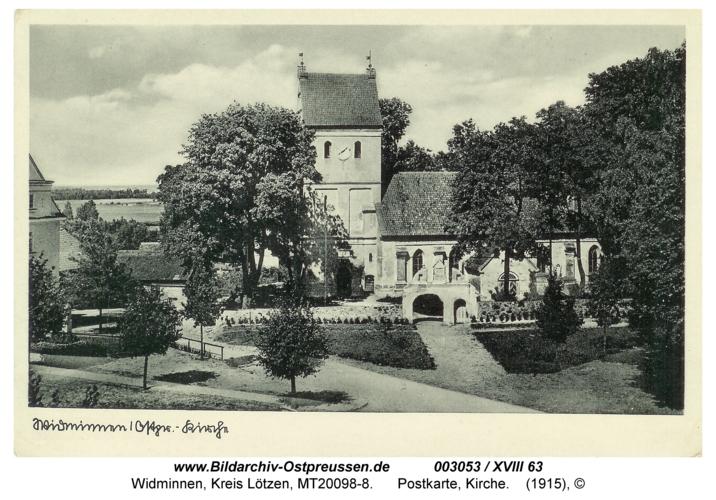 Widminnen, Postkarte, Kirche