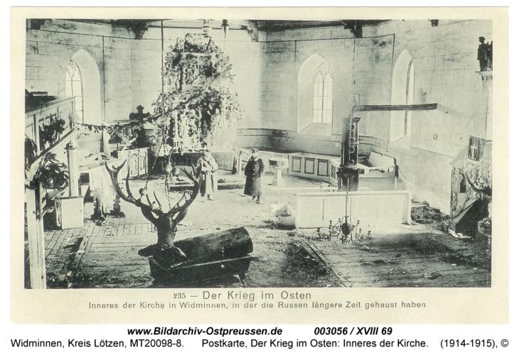 Widminnen, Postkarte, Der Krieg im Osten: Inneres der Kirche