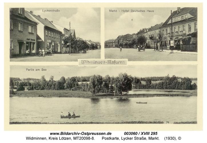 Widminnen, Postkarte, Lycker Straße, Markt