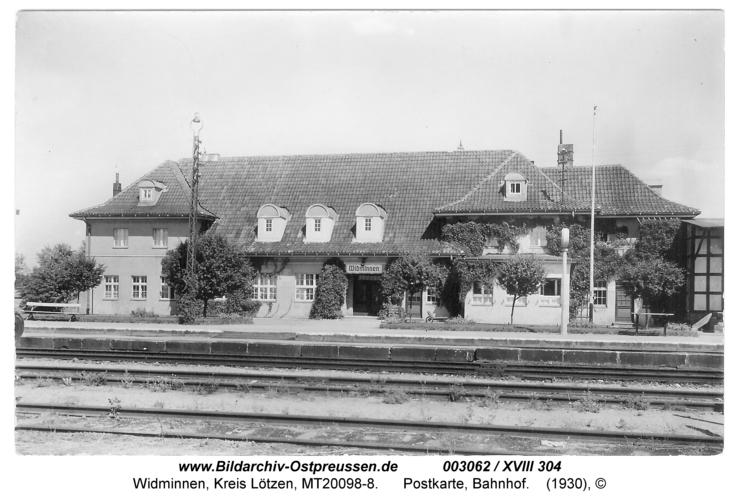 Widminnen, Postkarte, Bahnhof