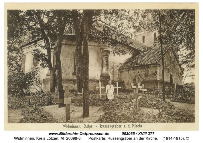 Widminnen, Postkarte, Russengräber an der Kirche