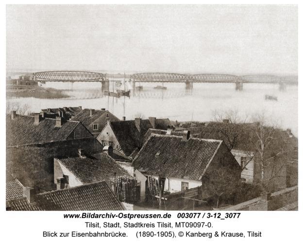 Tilsit, Blick zur Eisenbahnbrücke