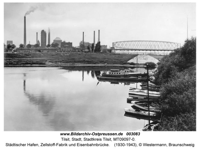 Tilsit, Städtischer Hafen, Zellstoff-Fabrik und Eisenbahnbrücke