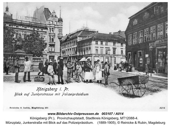 Königsberg, Münzplatz, Junkerstraße mit Blick auf Polizeipräsidium