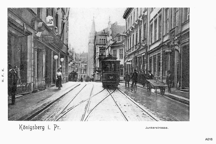 Königsberg, Junkerstraße mit Straßenbahn