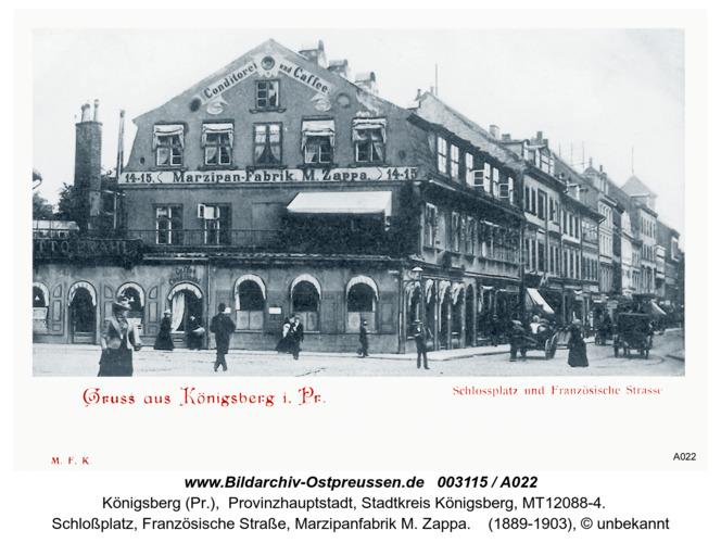 Königsberg, Schloßplatz, Französische Straße, Marzipanfabrik