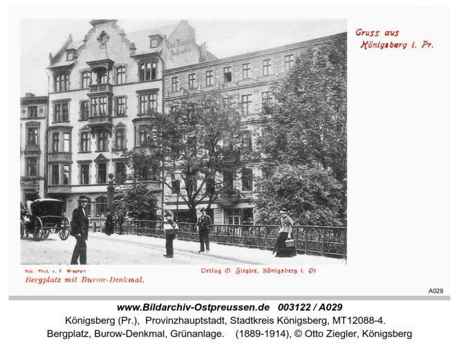 Königsberg, Bergplatz, Burow-Denkmal, Grünanlage