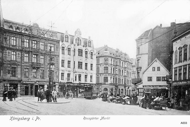 Königsberg, Roßgärter Markt, Straßenbahn