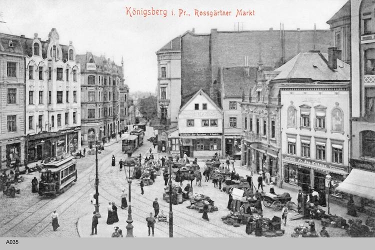 Königsberg, Roßgärter Markt, Marktstände, Straßenbahn