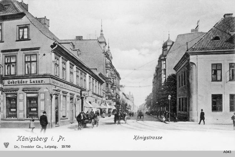 Königsberg, Königstraße mit Pferdefuhrwerken