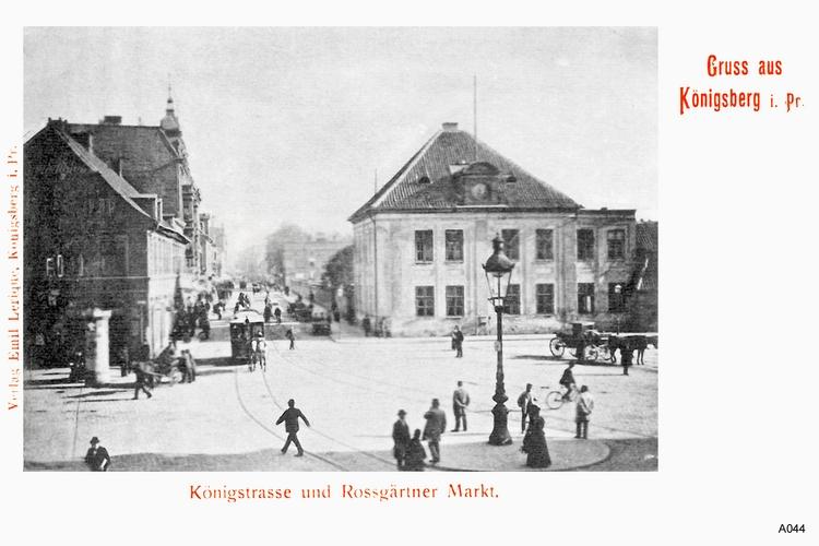 Königsberg, Königstraße, Roßgärter Markt mit Pferdefuhrwerken und Straßenbahn