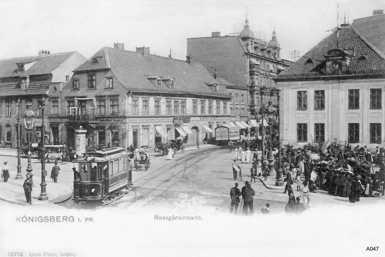 Königsberg, Roßgärter Markt mit Straßenbahn, Geschäftshaus Lazar