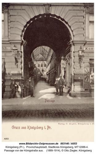 Königsberg, Passage von der Königsstraße aus