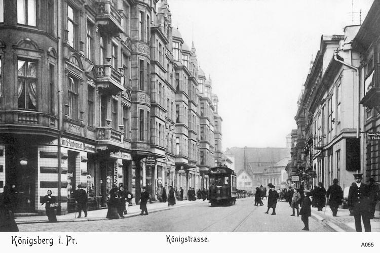Königsberg, Königstraße mit Straßenbahn vom Rossgärter Markt