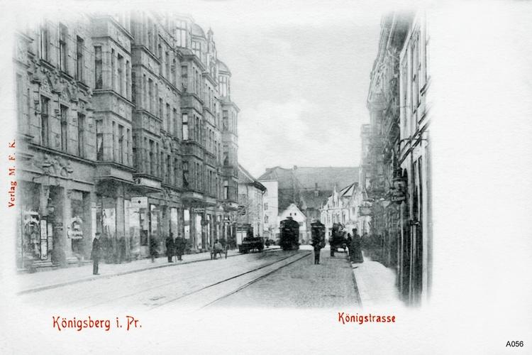 Königsberg, Königstraße, Straßenbahn und Pferdefuhrwerke