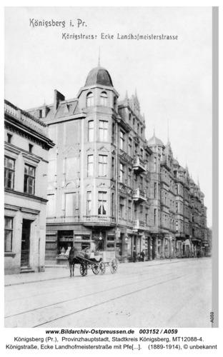 Königsberg, Königstraße, Ecke Landhofmeisterstraße mit Pferdekarren