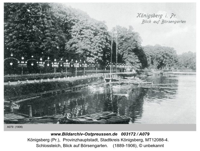 Königsberg, Schloßteich, Blick auf Börsengarten