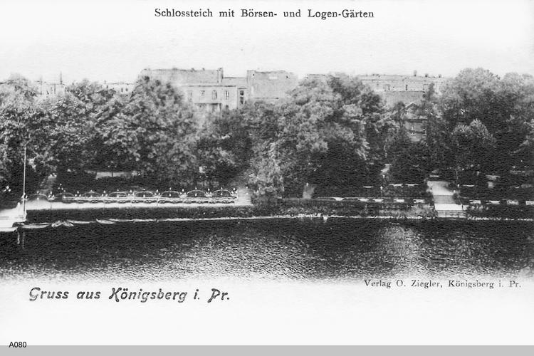 Königsberg, Schloßteich mit Logen- und Börsengarten