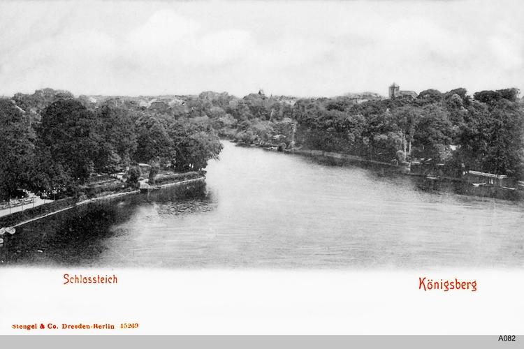 Königsberg, Schloßteich mit Booten und Schwänen, Blick auf Börsengarten