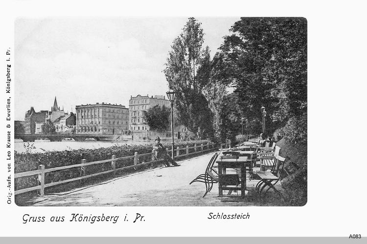 Königsberg, Schloßteich mit Schloßteichbrücke aus Richtung Drei Kronenloge