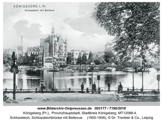 Königsberg, Schloßteich, Schloßteichbrücke mit Bellevue