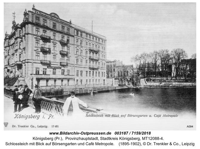 Königsberg, Schloßteich mit Blick auf Börsengarten und Caffee Metropole