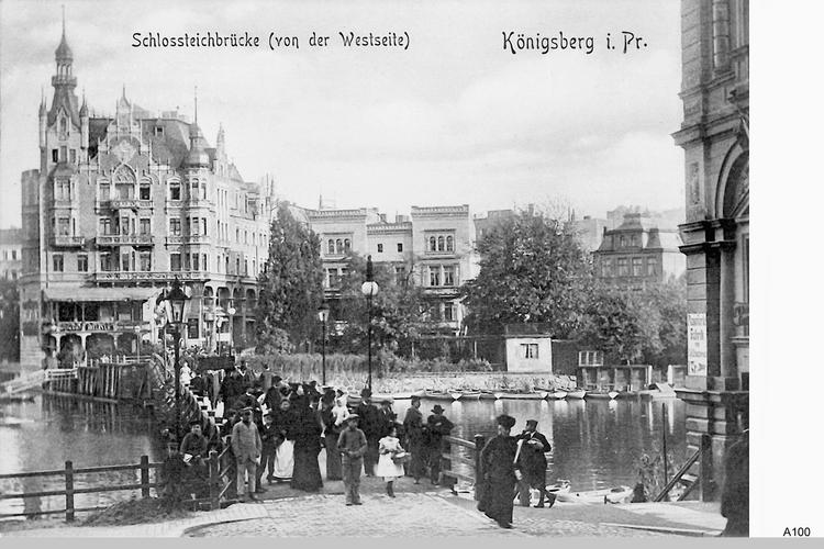 Königsberg, Schloßteichbrücke von der Westseite