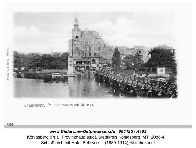 Königsberg, Schloßteich mit Bellevue vom Café Metropole