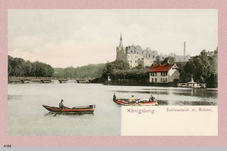 Königsberg, Schloßteich mit Brücke und Gondeln (coloriert)