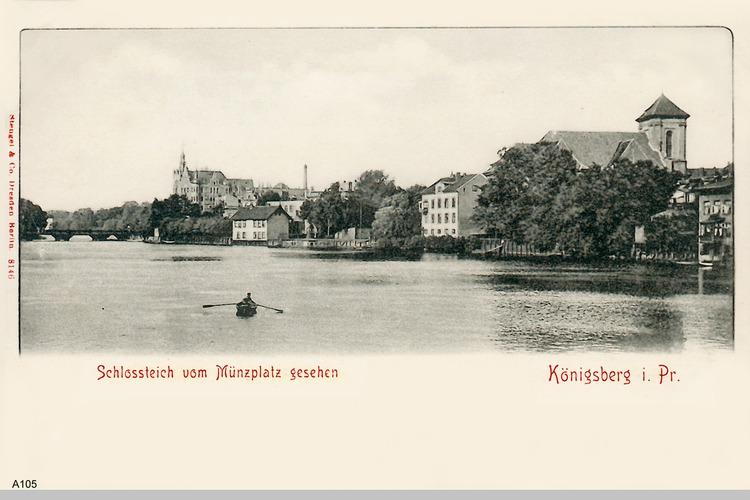 Königsberg, Schlossteich vom Münzplatz aus gesehen