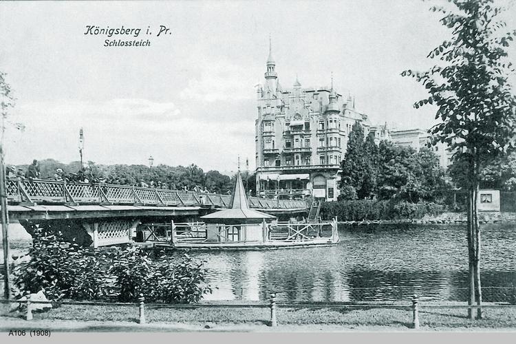 Königsberg, Schloßteich, Schloßteichbrücke und Schwanenhaus