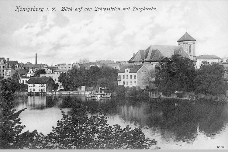 Königsberg, Blick auf den Schloßteich mit Burgkirche