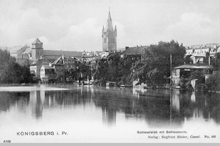 Königsberg, Schloßteich mit Schloßturm