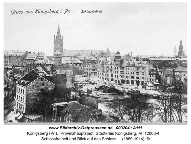 Königsberg, Schloßfreiheit und Blick auf das Schloß