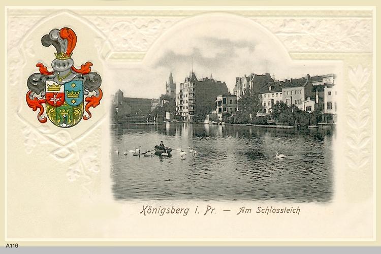 Königsberg, Ruderboot und Schwäne auf dem Schloßteich