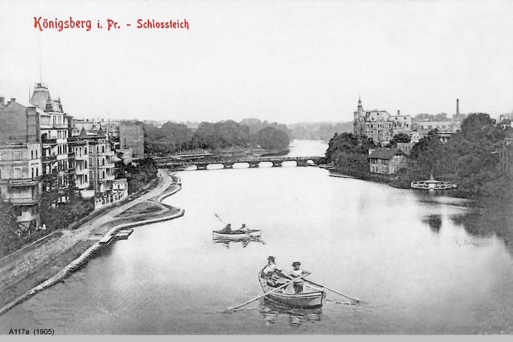 Königsberg, Schloßteich und Schloßteichbrücke im Hintergrund, Promenade noch unfertig