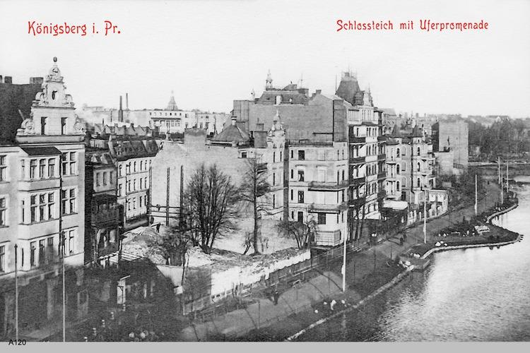 Königsberg, Schloßteich mit Uferpromenade