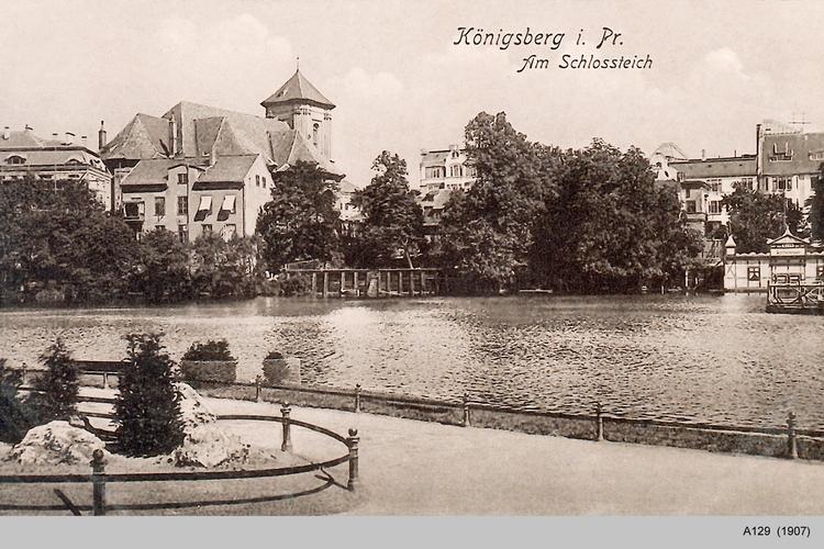 Königsberg, Am Schloßteich, Blick von der Schloßteichpromenade auf die Burgkirche