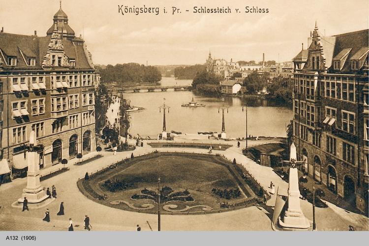 Königsberg, Schloßteich vom Schloßturm gesehen