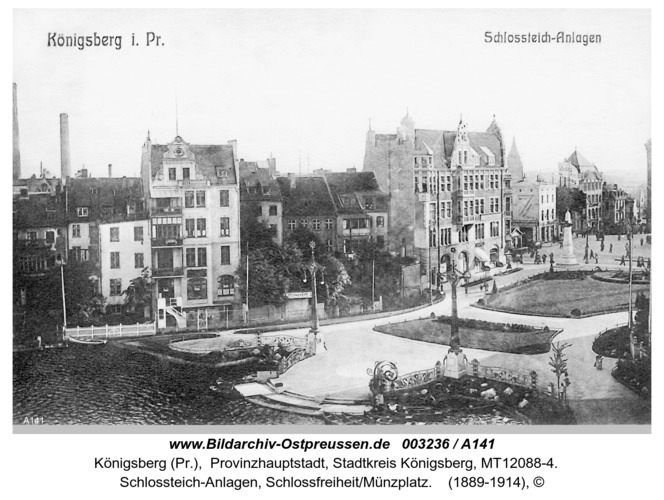 Königsberg, Schloßteich-Anlagen, Schloßfreiheit/Münzplatz