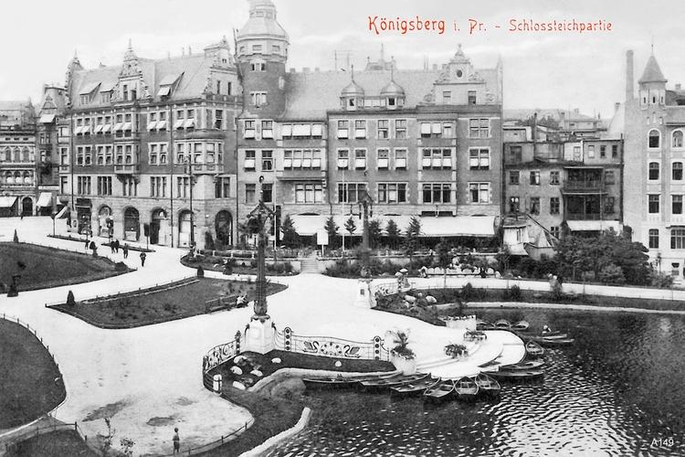 Königsberg, Schloßteichpartie und Blick auf Café Imperial